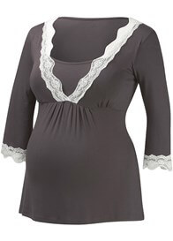 Queen Bee Pewter Lace Trim Maternity Nursing PJ Set by Amoralia