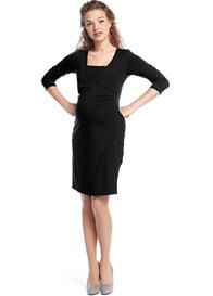 Queen Bee Surplice Wrap Maternity Nursing Dress in Black by Queen mum