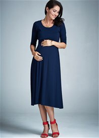 Queen Bee Voyage Maternity Nursing Midi Dress in Navy Blue by Milky Way
