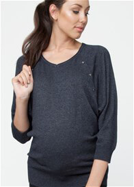Queen Bee Lambswool Nursing Knit Jumper in Dark Grey by Ripe Maternity