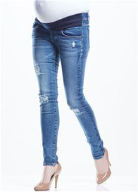 Queen Bee Blaze Distressed Maternity Skinny Jeans by Soon Maternity