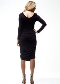 Queen Bee Celina Black Long Sleeve Ruched Maternity Dress by Soon Maternity