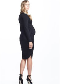 Queen Bee Krystal Empire Ruched Maternity Dress in Black by Soon Maternity