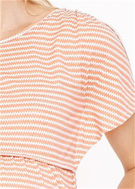 Queen Bee Brooke Maternity Nursing Top in Peach Chevron by Dote Nursingwear