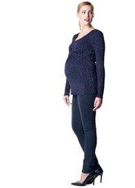 Queen Bee Ira L/S Maternity Nursing Top in Dark Blue Print by Noppies