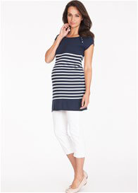 Queen Bee Violetta Navy Stripe Knit Maternity Nursing Tunic by Seraphine
