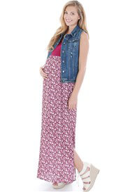 Queen Bee Maisie Maternity Maxi Dress in Poppy Print by Everly Grey