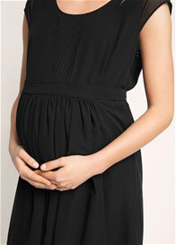 Queen Bee Chiffon Pleat Detail Maternity Dress in Black by Esprit