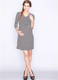 Queen Bee Lizzie Maternity Nursing Dress in Navy Houndstooth by Dote