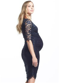 Queen Bee Gigi Lace Maternity Dress in Navy by Soon Maternity