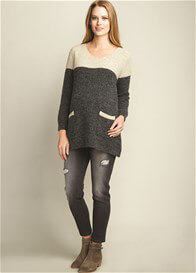 Queen Bee Contrast Yoke Maternity Knit Sweater by Maternal America