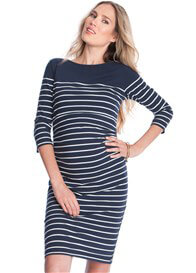 Queen Bee Zadie Maternity Nursing Dress in Blue Stripes by Seraphine