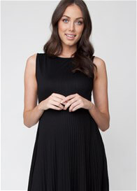 Queen Bee Knife Pleat Maternity Cocktail Dress in Black by Ripe Maternity