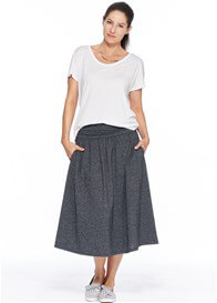Queen Bee Pocketed Midi Maternity Skirt in Grey by Milky Way