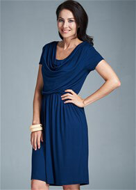 Queen Bee Avery Cowl Neck Maternity Nursing Dress in Blue by Milky Way