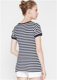 Queen Bee Classic Nursing Tee in Navy Stripe by Dote Nursingwear