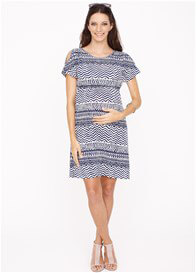 Queen Bee Willow Maternity Nursing Dress in Blue Ikat by Dote Nursingwear