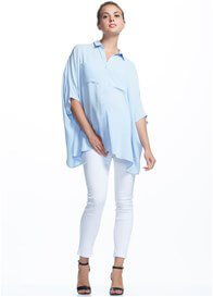 Queen Bee Stella Boxy Maternity Shirt in Blue by Soon Maternity