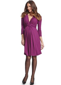 Queen Bee Orchid 3/4 Sleeve Knot Front Maternity Dress by Seraphine