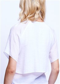 Queen Bee Layer Maternity Blouse in White by Maternal America