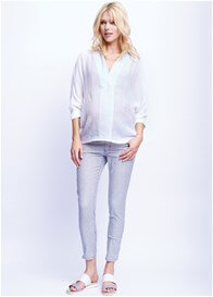 Queen Bee Oversize Maternity Blouse in White by Maternal America