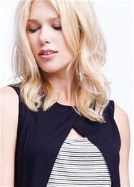 Queen Bee Crossover Nursing Top in Black Stripes by Maternal America