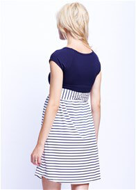 Queen Bee Scoop Front Tie Maternity Dress in Navy Stripes by Maternal America