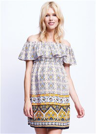 Queen Bee Off Shoulder Maternity Dress in Mustard Paisley by Maternal America