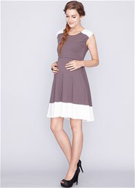 Queen Bee Contrast Maternity Nursing Swing Dress in Grey/Cream by Dote