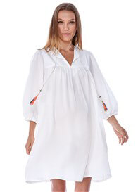 Queen Bee Violet Boho Maternity Dress w Tassels in White by Imanimo