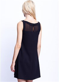Queen Bee Black Sheer Yoke Maternity Dress by Maternal America