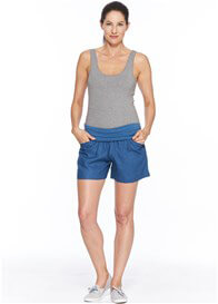 Queen Bee Panama Linen Maternity Shorts in Blue by Milky Way