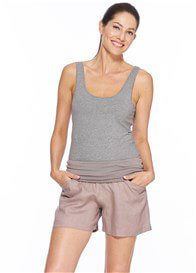 Queen Bee Panama Linen Maternity Shorts in Taupe by Milky Way