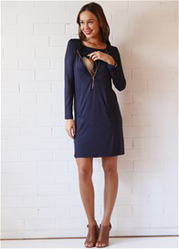 Queen Bee Chantal L/S Zip Nursing Dress in Navy Blue by Floressa