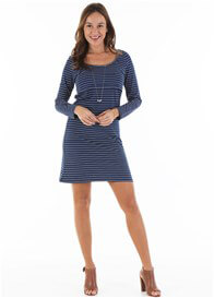 Queen Bee Brienne Postpartum Nursing Dress in Navy Stripe by Trimester