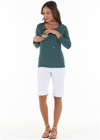 Queen Bee Alyce Postpartum L/S Nursing Top in Green Stripe by Trimester