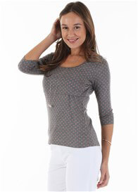 Queen Bee Koko Nursing Top in Grey Polkadot by Trimester Clothing