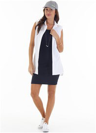 Queen Bee Courtney Postpartum Nursing Tank Dress in Navy Blue by Trimester