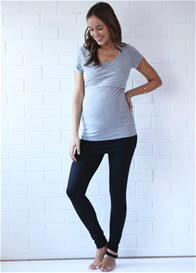 Queen Bee Britney Postpartum Nursing T-Shirt in Grey by Trimester Clothing