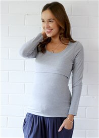 Queen Bee Mallory Postpartum L/S Nursing Top in Grey by Trimester Clothing