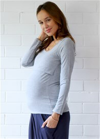 Queen Bee Mallory Postpartum L/S Nursing Top in Grey by Trimester