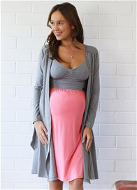 Queen Bee Mandy Maternity Cardigan in Grey by Amoralia