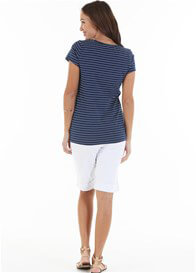 Queen Bee Lyssa Nursing T-Shirt in Navy Stripe by Trimester Clothing