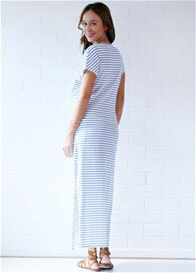 Queen Bee Aria Blue Striped Maternity Maxi Dress by Trimester Clothing