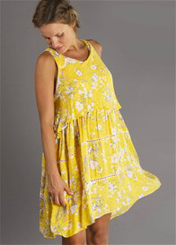 Queen Bee Freedom Maternity Nursing Dress in Marigold Floral by Fillyboo