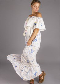 Queen Bee Seeker Lover Keeper Nursing Maxi Dress in Blue Floral by Fillyboo