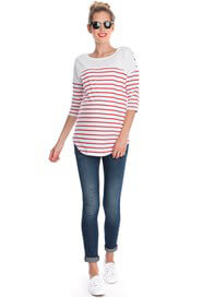 Queen Bee Red Striped Cotton Maternity Nursing Top by Seraphine