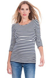 Queen Bee Bamboo Maternity Nursing Top in Navy Stripes by Seraphine