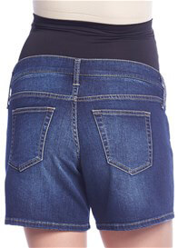 Queen Bee Over Bump Maternity Denim Shorts in Blue by Queen mum
