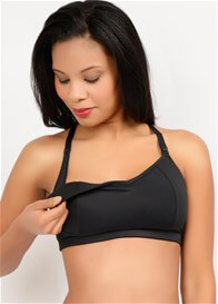 Queen Bee Loriann Maternity Nursing Sport Bra in Black by Q-T Intimates